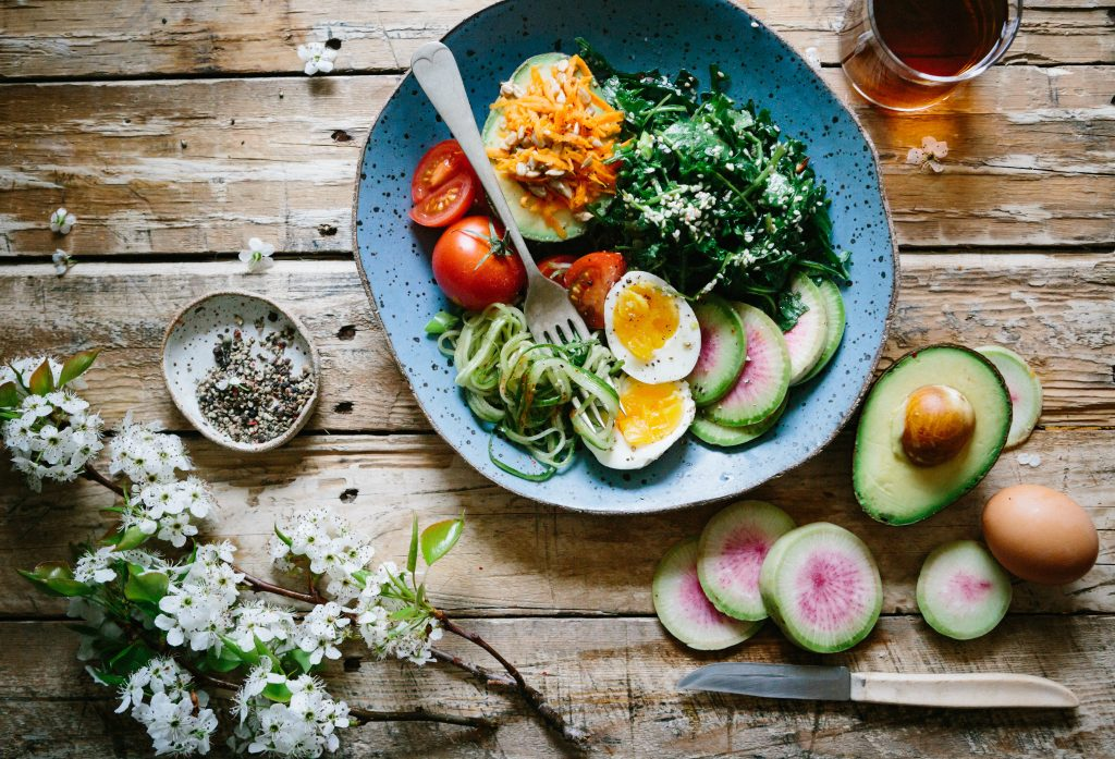 Plate of nutritious and healthy foods