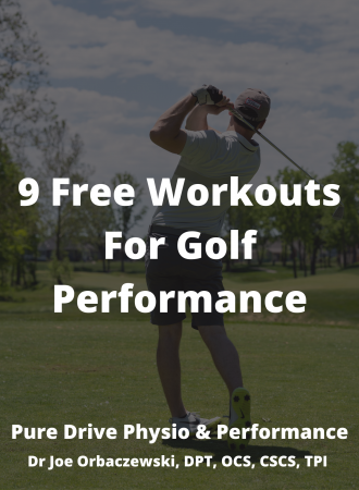 Golfer Swinging a Golf Club On Cover of Ebook For Free Golf Fitness Workouts